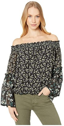Free People Rose Valley Printed Blouse (Black) Women's Clothing