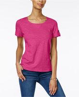 Karen Scott Cuffed Cotton Active T-Shirt, Only at Macy's