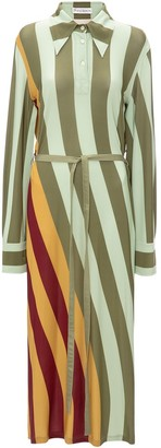 J.W.Anderson Warped Stripe Print Polo Dress