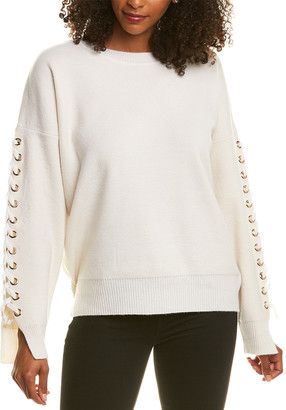 Magaschoni Lace-Up Cashmere & Wool-Blend Sweater