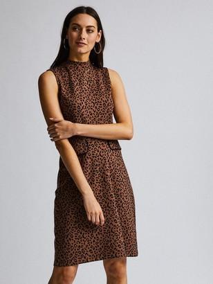 Dorothy Perkins Animal Sleeveless High Neck Midi Dress - Brown