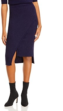 Aqua Faux Wrap Knit Midi Skirt - 100% Exclusive