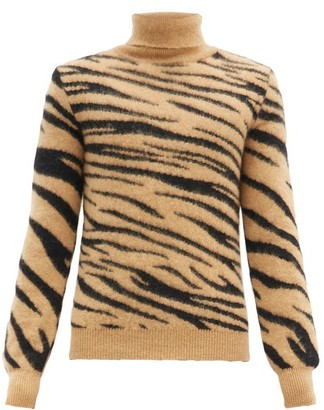 Paco Rabanne Roll-neck Tiger-jacquard Mohair-blend Sweater - Black Beige