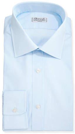 Charvet Solid Poplin Dress Shirt, Light Blue