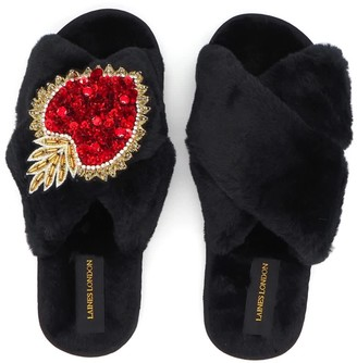 Laines London Black Fluffy Slippers With Statement Crystal Heart Brooch