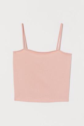 H&M Cropped Jersey Camisole Top - Orange