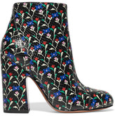 Marc Jacobs Cora Printed Glossed Snake-effect Leather Ankle Boots - Black