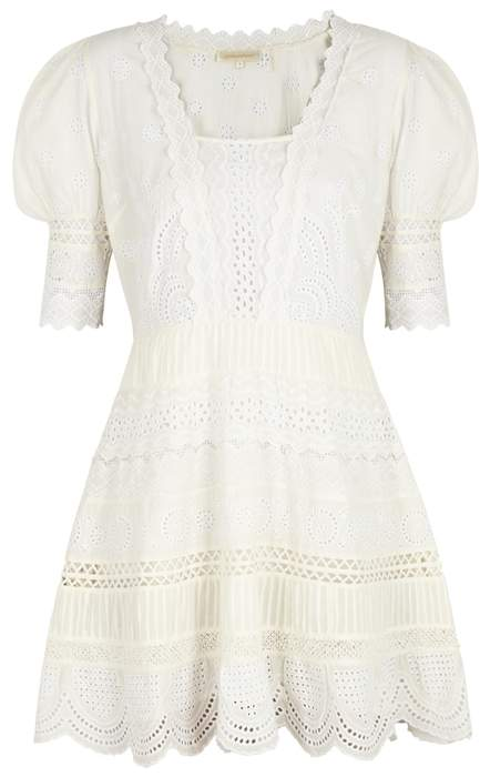 LoveShackFancy Kristen Eyelet-embroidered Cotton Dress