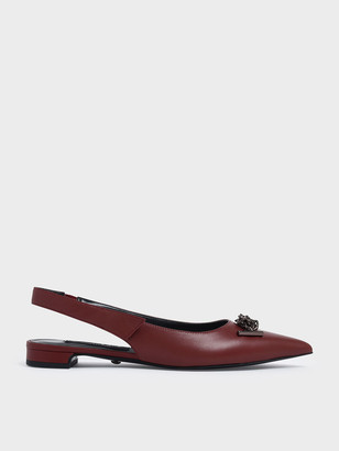Charles & Keith Knotted Chain Detail Leather Slingback Flats
