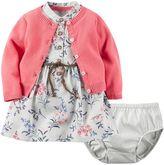 Carter's Baby Girl Belted Floral Dress & Cardigan Set