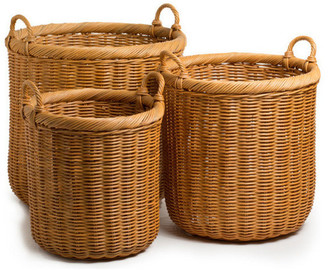 The Basket Lady Round Wicker Storage Basket, Medium
