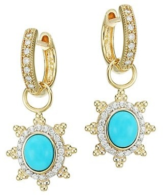 Jude Frances Provence 18K Yellow Gold, Turquoise & Diamond Pave Halo Sunburst Earring Charms