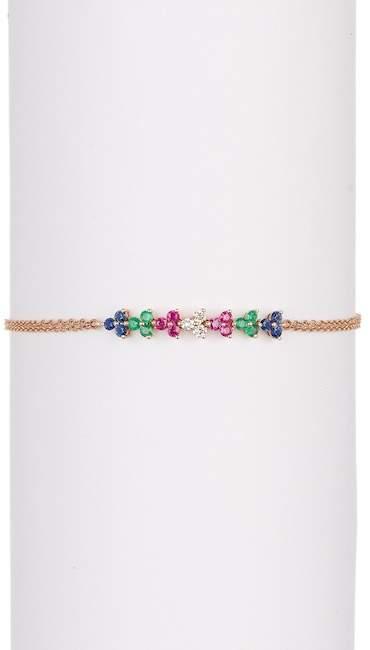 Ef Collection 14K Rose Gold Triple Chain Multi-Color Diamond Bracelet - 0.10 ctw