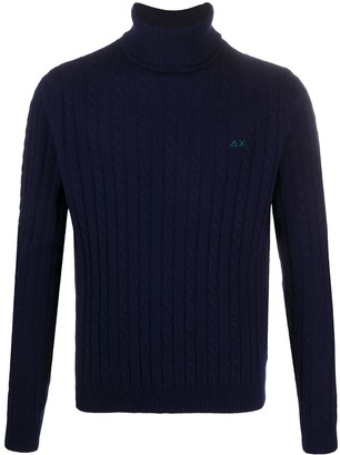Sun 68 Cable-Knit Roll-Neck Jumper