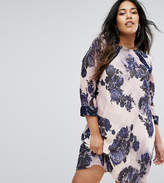 Little Mistress Plus Sheer Floral Dress
