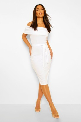 boohoo Off The Shoulder Split Midi Bodycon Dress