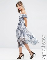Asos Navy Floral Bardot Organza Midi Dress