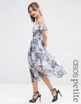 Asos Navy Floral Bardot Organza Midi Dress