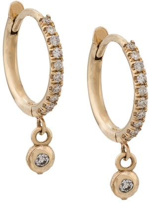 Zoë Chicco 14kt Yellow Gold Dangling Bezel Diamond Pave Hoops