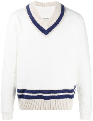 Maison Margiela knitted panel V-neck sweatshirt