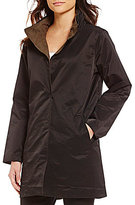 Eileen Fisher Stand Collar Button-Front Reversible Coat