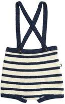Oeuf Two Tone Striped Shorts W/ Suspenders