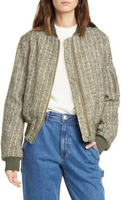 Rag & Bone Manston Herringbone Wool Blend Bomber Jacket