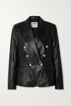 L'Agence Kenzie Double-breasted Leather Blazer - Black