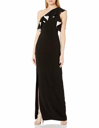 Halston Women's A-Line Flounce Crepe Gown