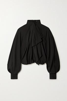 Balmain Pussy-bow Gathered Silk Blouse - Black