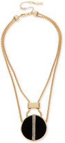 Kenneth Cole New York Gold-Tone Faux Leather and Pavé Disc Pendant Necklace