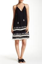 Love Stitch Embroidered Layered Hem Sleeveless Dress