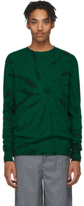 The Elder Statesman Green and Black Cashmere Tie-Dye Sweater