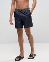 Asos Swim Shorts In Ripstop Nylon In Navy In Mid Length