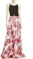 Aidan Mattox 54471220 Scoop Floral Print A-Line Long Dress