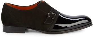 Mezlan Patent Leather & Suede Monk Strap Shoes