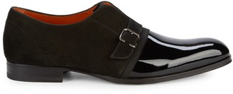 Mezlan Patent Leather & Suede Monk Strap Shoes