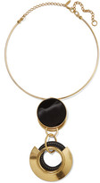 Marni Gold-plated, Resin And Textured-leather Necklace - one size