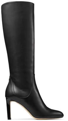Jimmy Choo TEMPE 85 Black Calf Leather Knee Boots