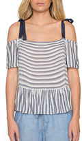 Willow & Clay Striped Peplum Cold Shoulder Blouse