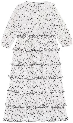 Ganni Polka Dot Tiered Midi Dress
