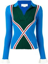 Esteban Cortazar ribbed collar jumper - women - Viscose/Polyester/Cotton - 36