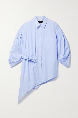 Simone Rocha Asymmetric Ruffled Pinstriped Cotton-poplin Shirt - Blue
