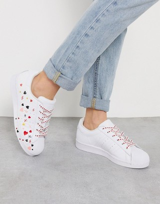 adidas Heart Print Superstar sneaker in white