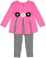 Kids Headquarters Pink Flower Tunic & Black Leggings - Toddler & Girls