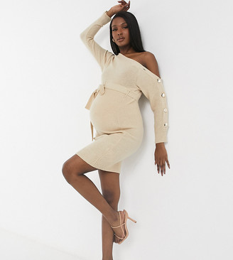 Outrageous Fortune Maternity knitted slash neck button sleeve pencil dress with belt in cream
