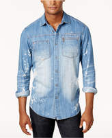 Sean John Men's Big and Tall 3D Washed Denim Shirt