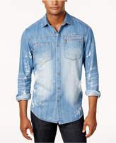 Sean John Men's Big & Tall 3D Washed Denim Shirt