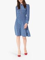 LK Bennett L.K.Bennett Mathilde Bow Print Silk Dress, Blue Multi