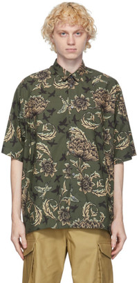 Givenchy Khaki Floral and Astral Oversized Short Sleeve Shirt